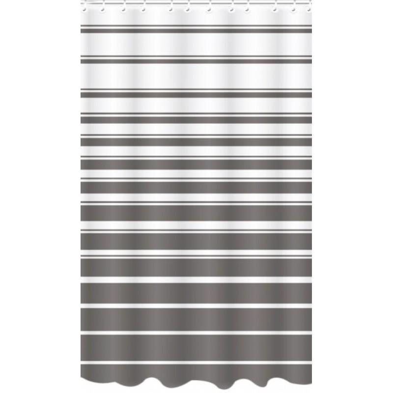 Κουρτίνα μπάνιου πολυεστερική σε λευκό-καφέ χρώμα 180x180