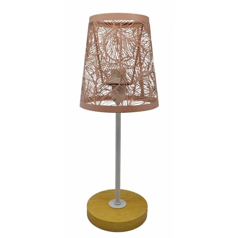 Φωτιστικό επιτραπέζιο μεταλλικό-ξύλινο σε σομόν χρώμα 14x14x35