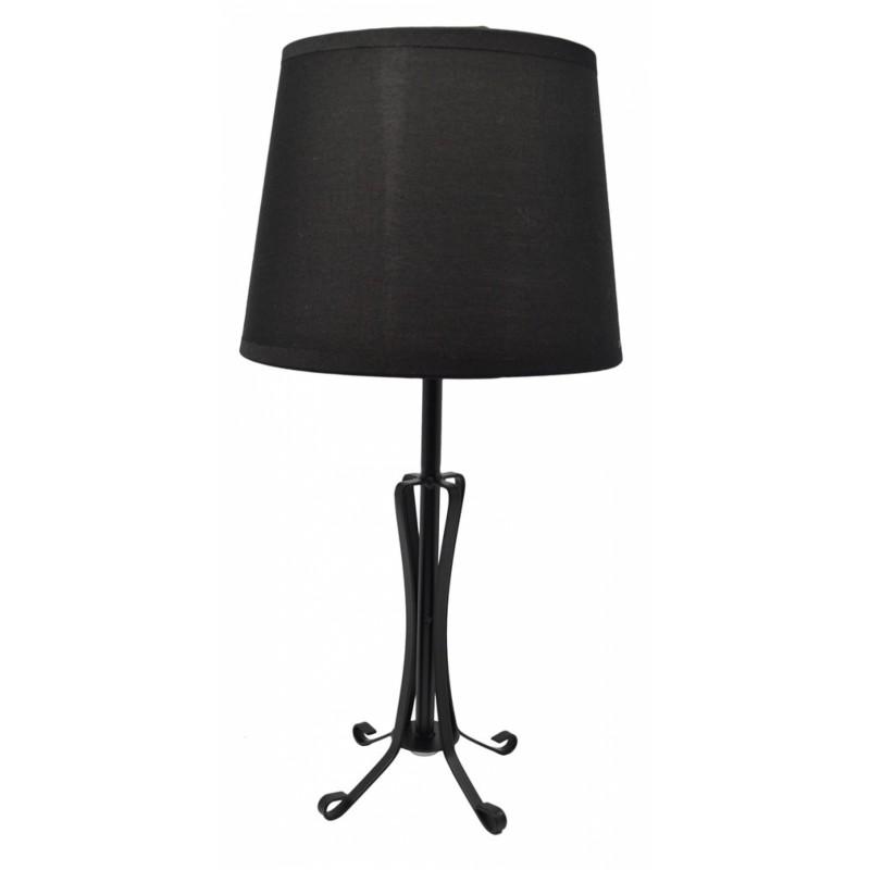 Φωτιστικό επιτραπέζιο μεταλλικό-υφασμάτινο σε μαύρο χρώμα 18x18x36