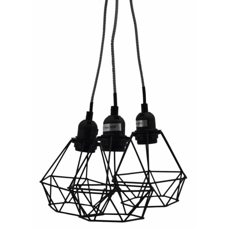 Φωτιστικό οροφής τρίφωτο μεταλλικό σε μαύρο χρώμα 28x29x80