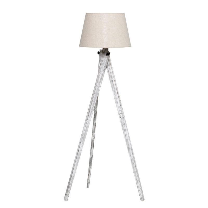 Επιδαπέδιο φωτιστικό από ξύλο-ύφασμα σε αντικέ λευκό χρώμα 40x45x140