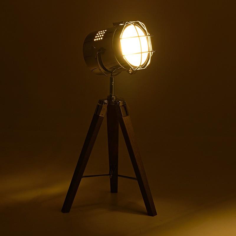 Eπιτραπέζιο φωτιστικό σε τρίποδα από ξύλο-μέταλλο σε καφέ χρώμα Φ32x65