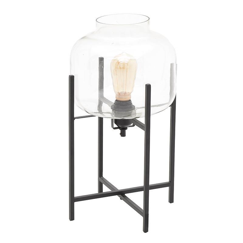 Επιτραπέζιο φωτιστικό μεταλλικό με γυαλί σε μαύρο χρώμα 27,5x27,5x47,5