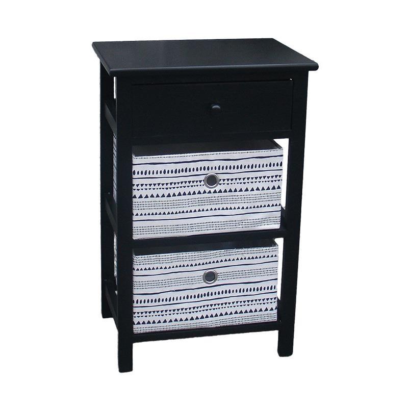 """Συρταριέρα """"INART"""" ξύλινη σε μαύρο χρώμα 40x29x63"""