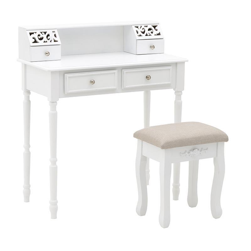"""Κονσόλα """"INART"""" με σκαμπώ ξύλινο σε χρώμα λευκό-ιβουάρ 80x40x93"""
