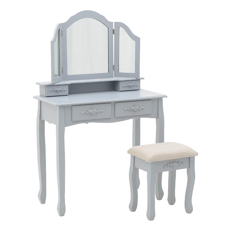 """Κονσόλα """"INART"""" με σκαμπώ και καθρέπτη ξύλινο σε χρώμα γκρι 85x42x133"""