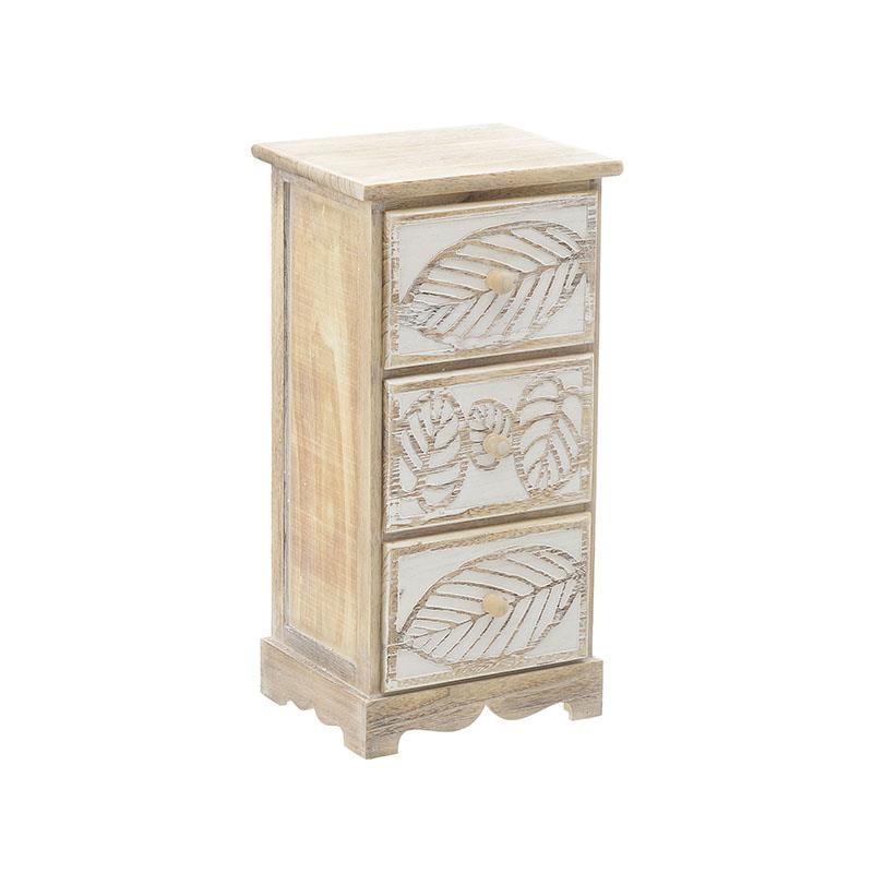 """Συρταριέρα """"INART"""" ξύλινη σε χρώμα εκρού-λευκό 30x25x60"""