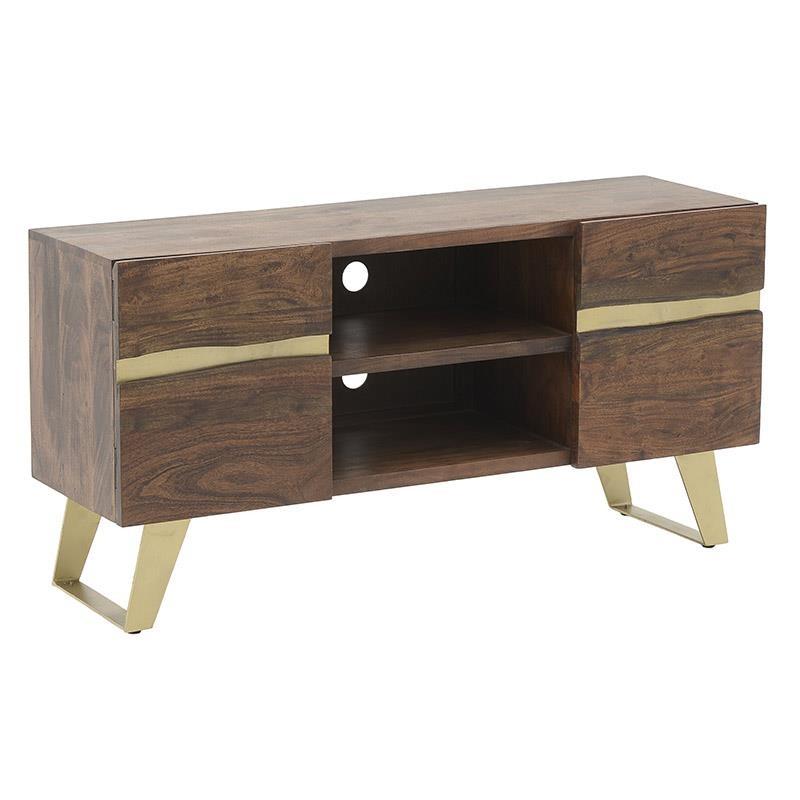 Έπιπλο τηλεόρασης ξύλινο σε χρώμα καφέ-χρυσό 130x40x60