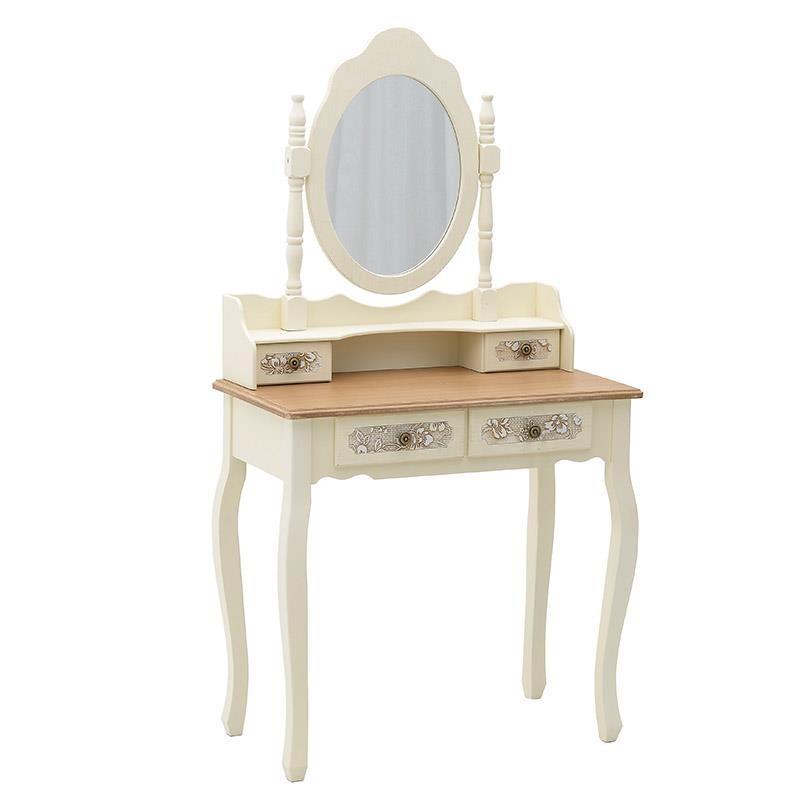 """Κονσόλα """"INART"""" με καθρέπτη ξύλινο σε χρώμα λευκό-ιβουάρ-καφέ 75x40x140"""