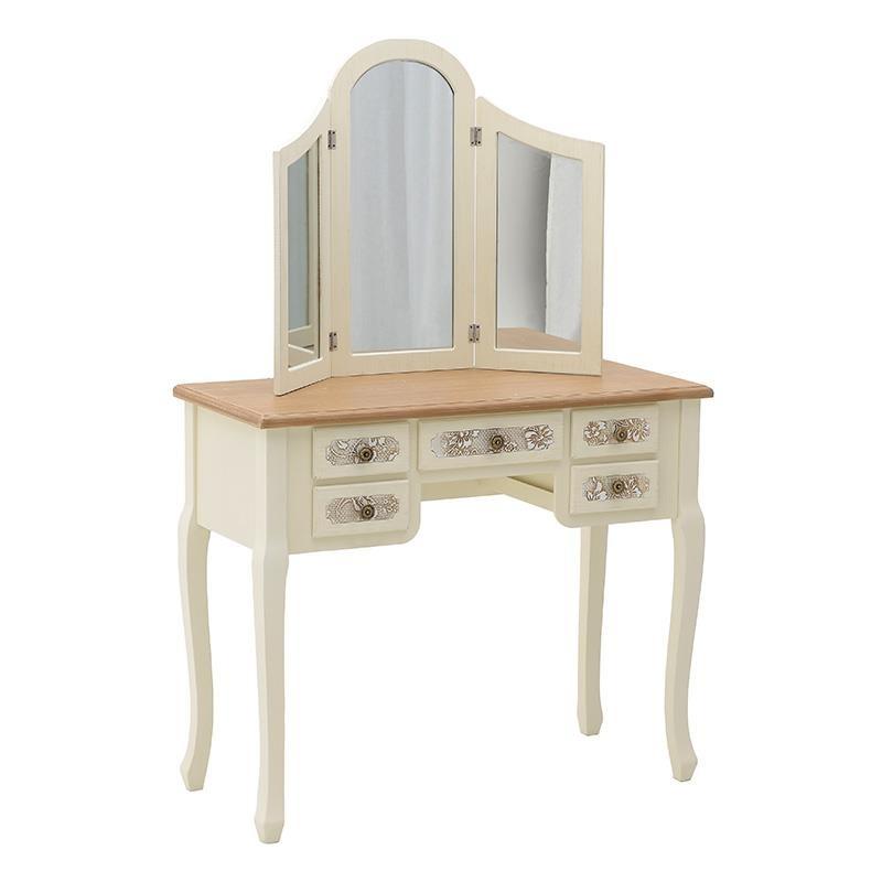 """Κονσόλα """"INART"""" με καθρέπτη ξύλινο σε χρώμα λευκό-ιβουάρ-καφέ 90x40x140"""