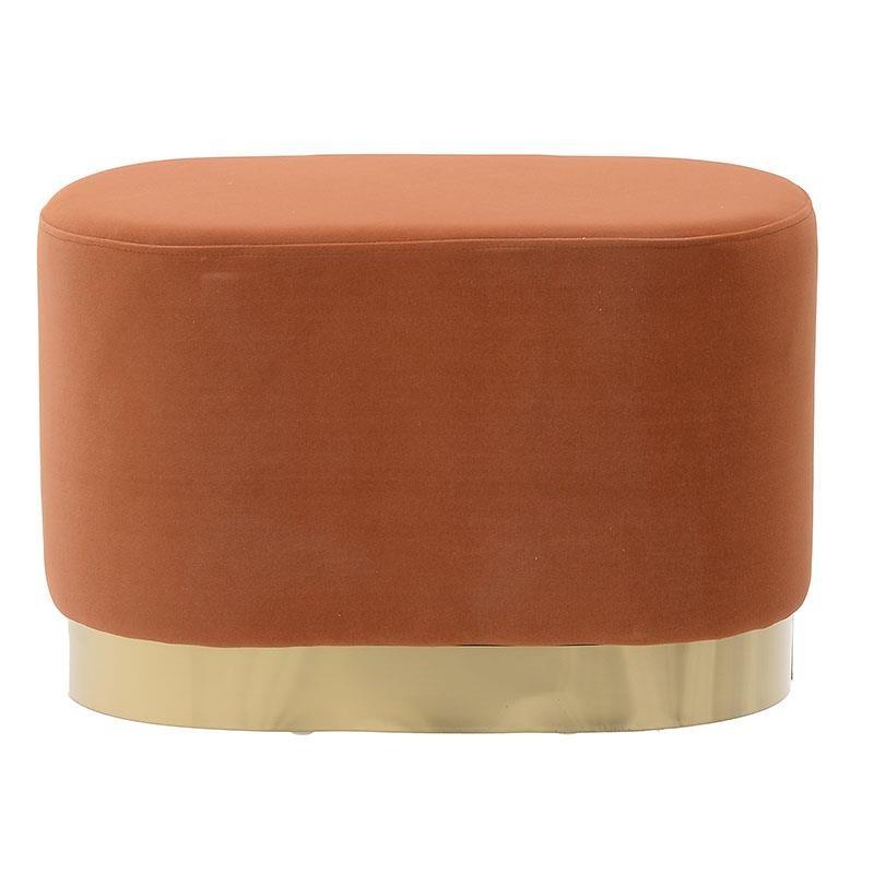 Βελούδινο ταμπουρέ σε σχήμα οβάλ και χρώμα πορτοκαλί 56x37x36