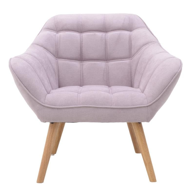 """Βελούδινη πολυθρόνα της """"INART"""" σε χρώμα ροζ με ξύλινα πόδια 76x83x74"""