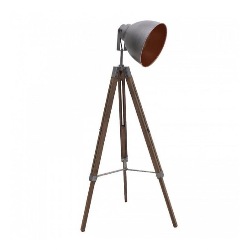 """Επιδαπέδιο φωτιστικό τρίποδας της """"INART"""" σε χρώμα ασημί με ξύλο 40x18x137"""