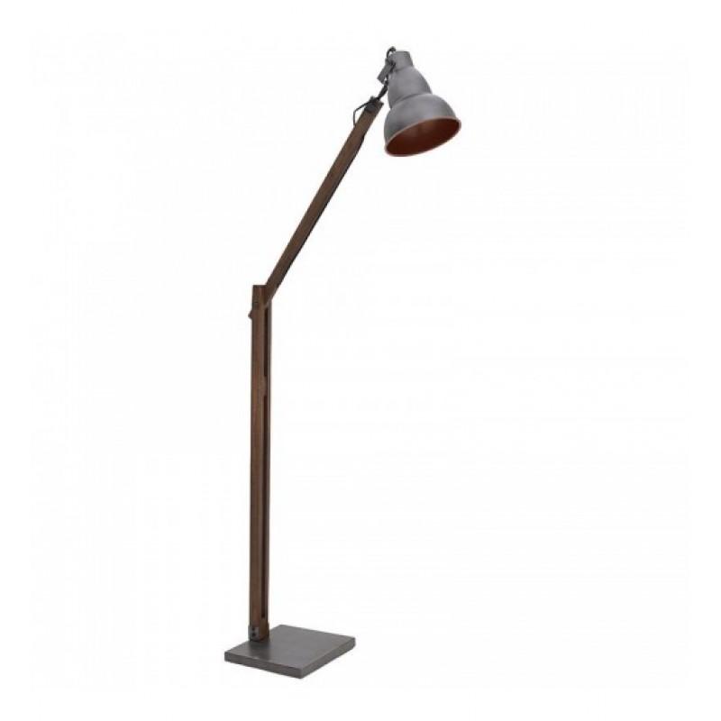 """Επιδαπέδιο φωτιστικό της """"INART"""" με ξύλινη βάση και μεταλλικό ασημί καπέλο 65x55x143"""