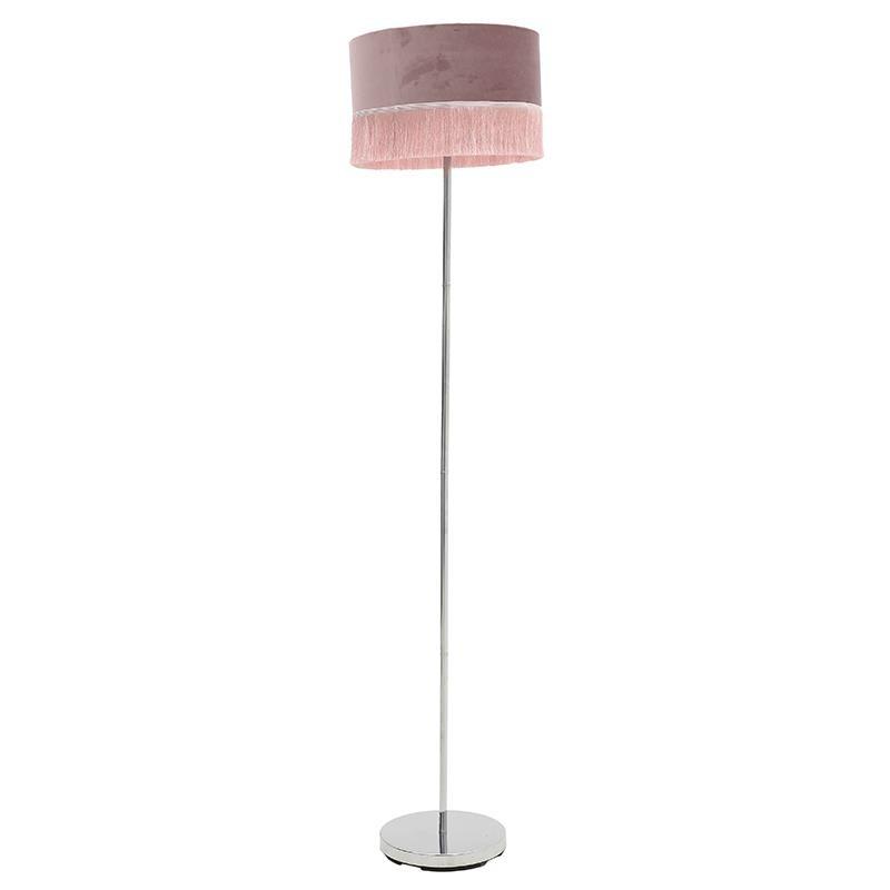 """Επιδάπεδιο φωτιστικό της """"INART"""" απο μεταλλικό σκελετό σε χρώμα ροζ με κρόσσια 35x35x163"""
