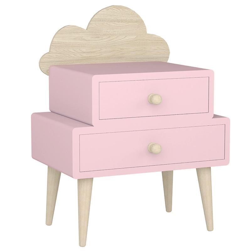 """Κομοδίνο παιδικό """"INART"""" από ξύλο σε χρώμα ροζ/μπεζ 40x32x80"""