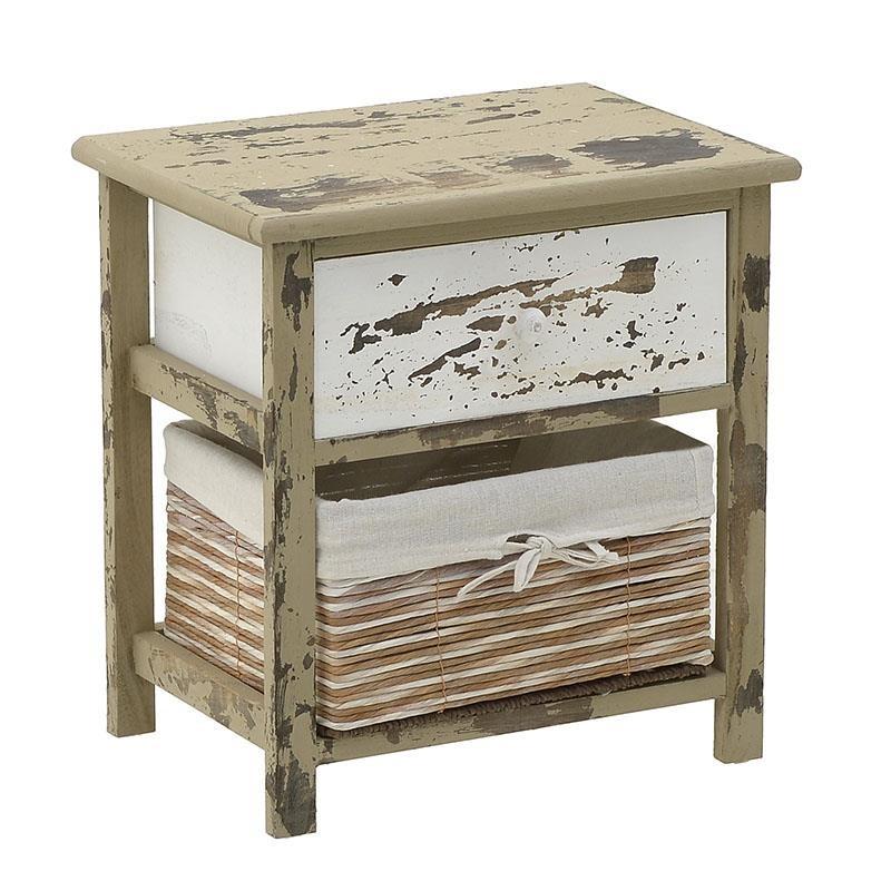 """Συρταριέρα """"INART"""" από ξύλο σε χρώμα καφέ/λευκό 40x29x42"""