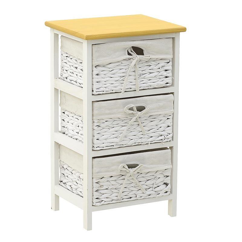 """Συρταριέρα """"INART"""" από ξύλο σε χρώμα μπεζ/λευκό 35x29x62"""