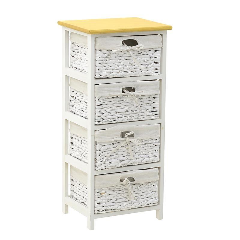 """Συρταριέρα """"INART"""" από ξύλο σε χρώμα λευκό/μπεζ 35x29x78"""