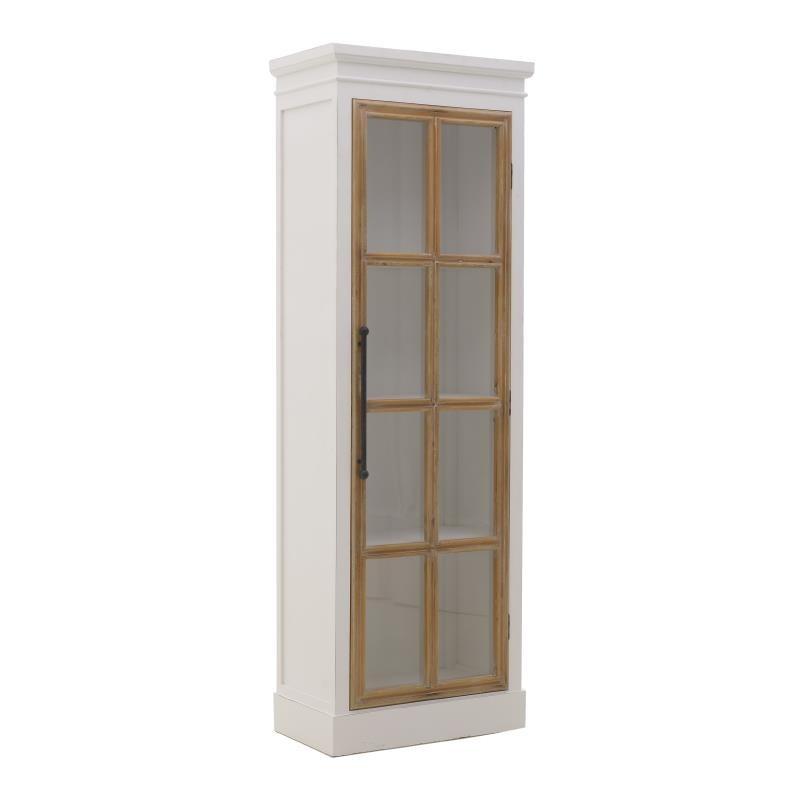 """Βιτρίνα """"INART"""" από ξύλο/γυαλί σε χρώμα λευκό/μπεζ 60x35.5x174.5"""