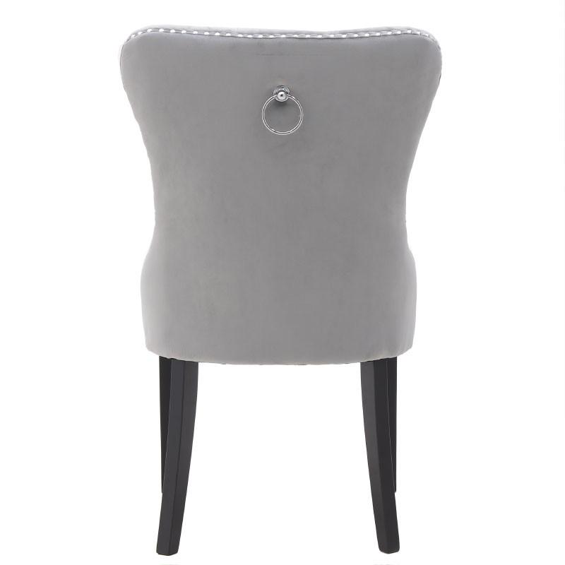 Kαρέκλα τραπεζαρίας βελούδινη σε γκρι χρώμα 56x64x98