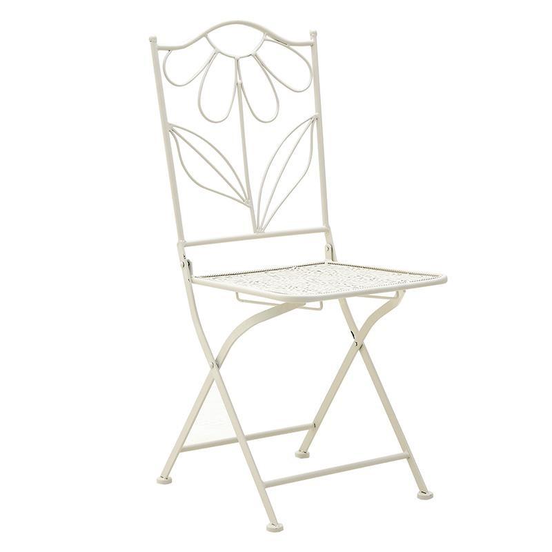 Kαρέκλα εξωτερικού χώρου μεταλλική σε μπεζ χρώμα 38x38x92