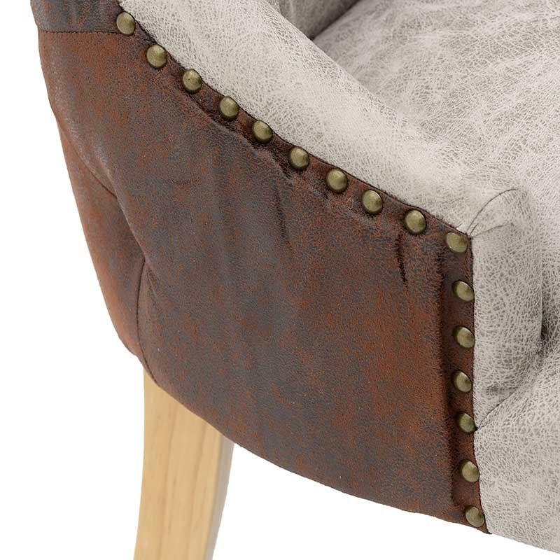 Kαρέκλα τραπεζαρίας ξύλινη-τεχνόδερμα σε φυσικό-γκρι χρώμα 58x64,5x92