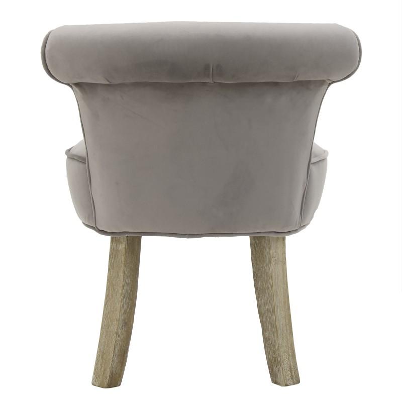 Kαρέκλα-σκαμπώ ξύλινη-βελούδινη σε γκρι χρώμα 50x52x58