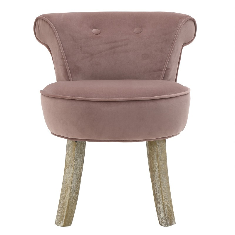 Kαρέκλα-σκαμπώ ξύλινη-βελούδινη σε σομόν χρώμα 50x52x58