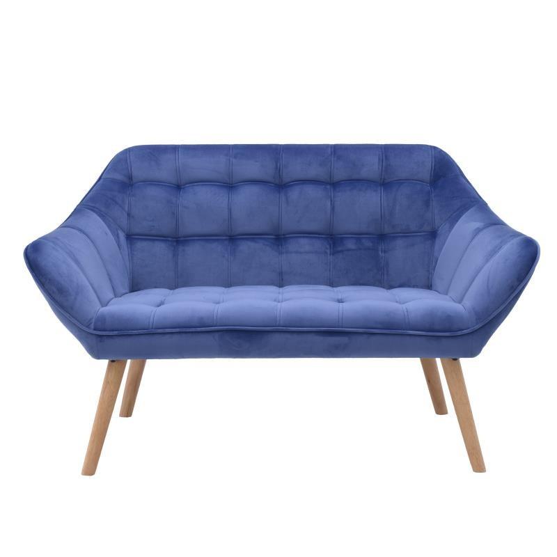 Καναπές διθέσιος βελούδινος σε μπλε χρώμα 127x76x74
