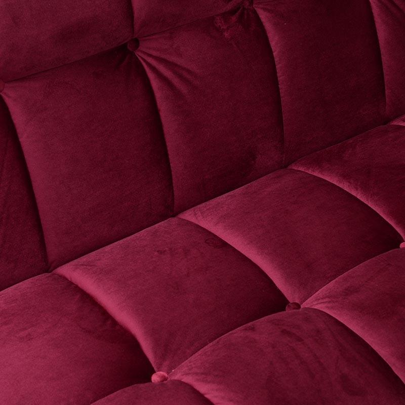 Kαναπές-κρεβάτι τριθέσιος βελούδινος σε κόκκινο χρώμα 186x90x86