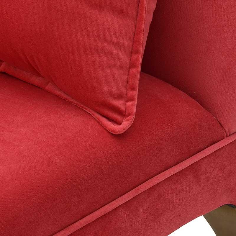 Ανάκλινδρο βελούδινο με μαξιλάρι σε κόκκινο χρώμα 105x44x66