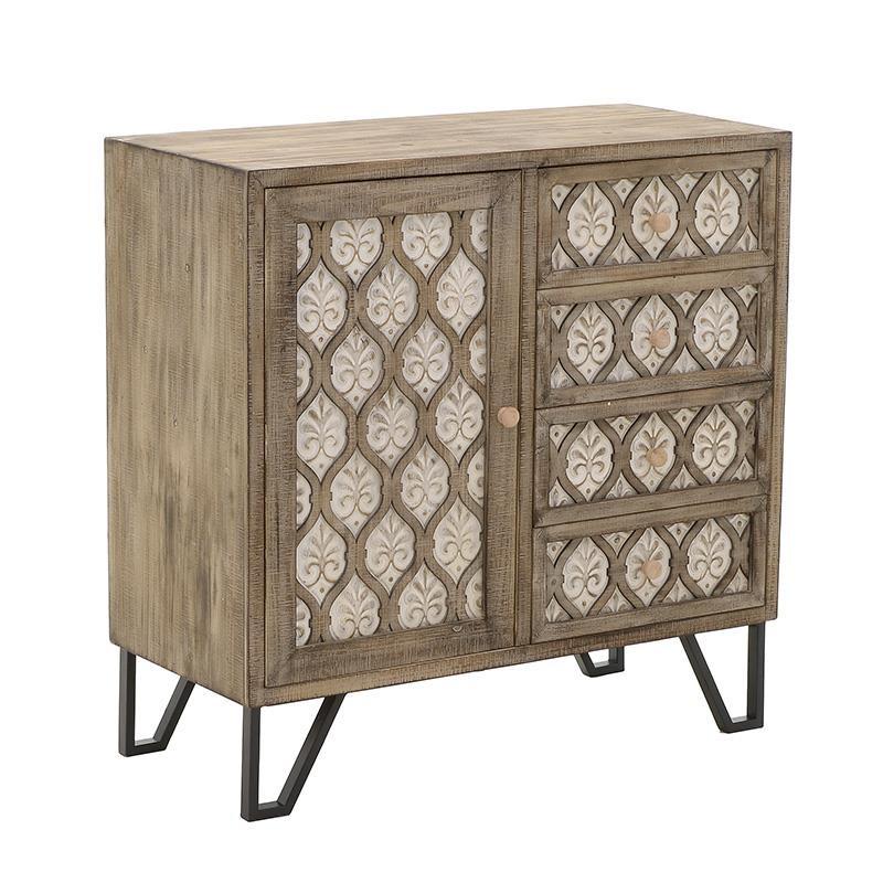 Συρταριέρα-ντουλάπι από ξύλο σε φυσικό-λευκό χρώμα 89x42x89