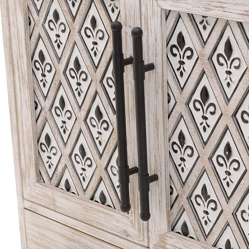 Nτουλάπι με συρτάρια από ξύλο σε λευκό αντικέ χρώμα 76x40x93