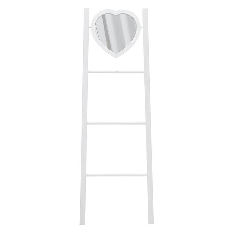 Kρεμάστρα-σκάλα ξύλινη με καθρέπτη καρδιά σε λευκό χρώμα 44,5x13,5x130