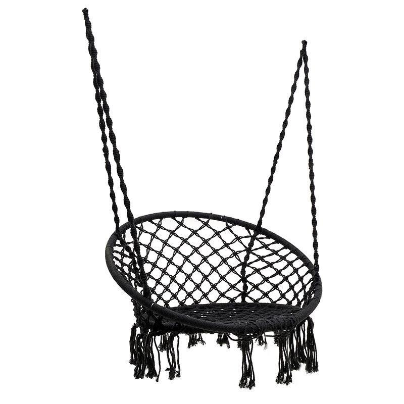 Αιώρα-πολυθρόνα με σχοινί από καμβά σε μαύρο χρώμα 60x80x135