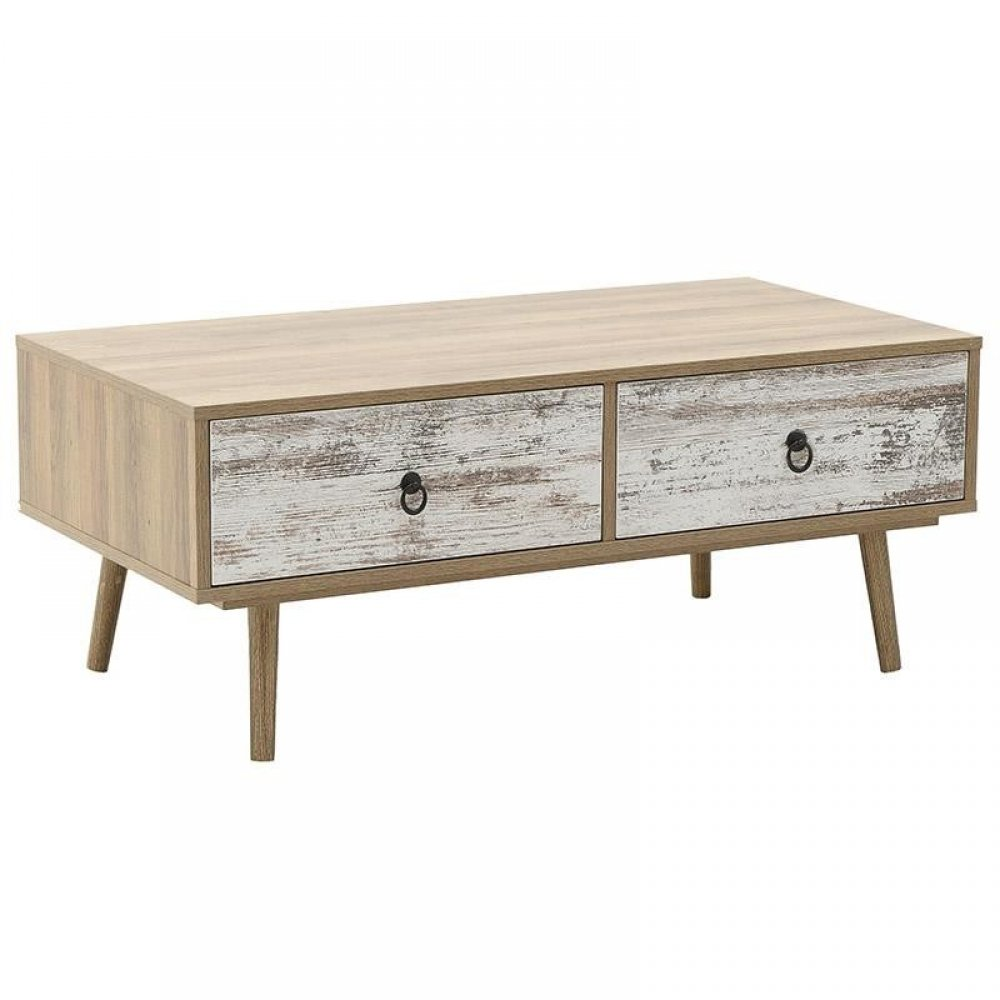Tραπέζι σαλονιού ξύλινο σε φυσικό-λευκό χρώμα 100x51x39