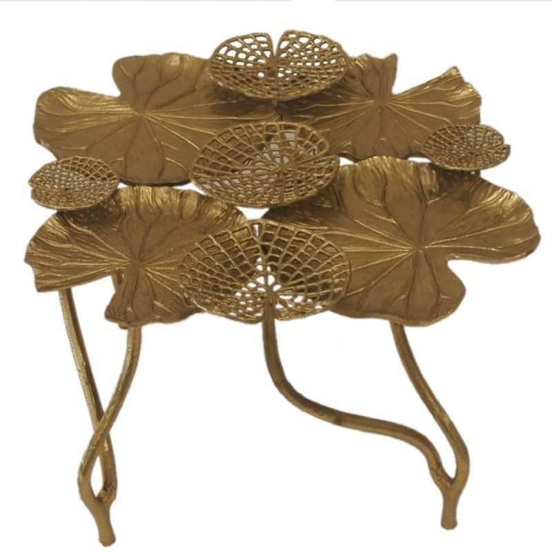 Tραπέζι σαλονιού μεταλλικό σε χρυσό χρώμα 66x66x40