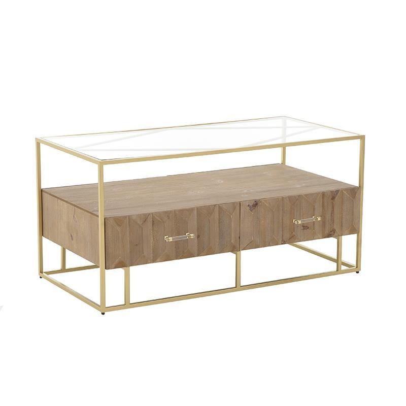 Tραπέζι σαλονιού ξύλινο-μεταλλικό σε φυσικό-χρυσό χρώμα 122x60x60