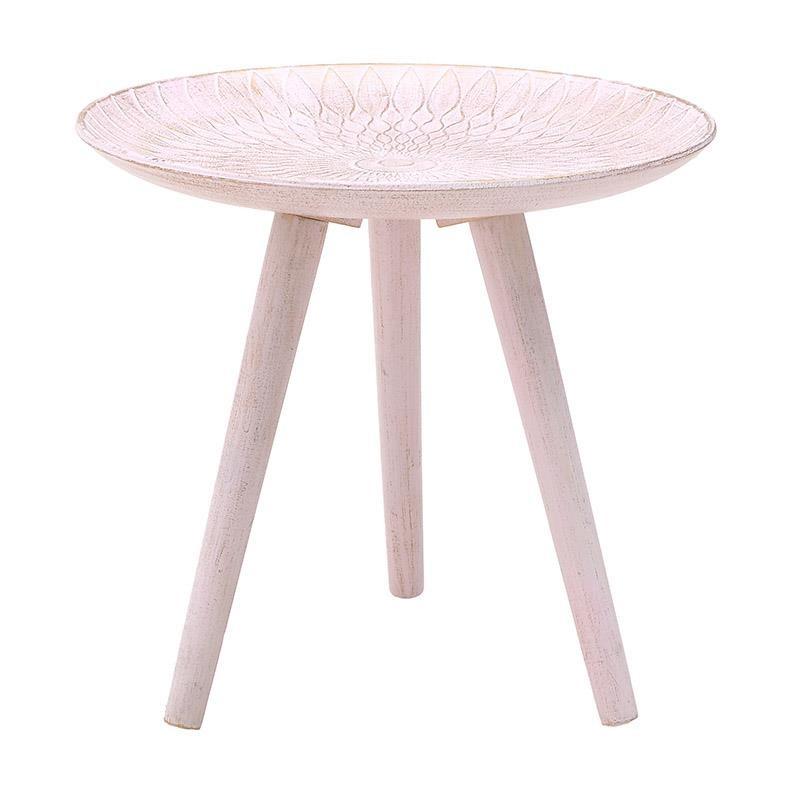 Τραπέζι βοηθητικό ξύλινο σε αντικέ ροζ χρώμα 40x40x37,5