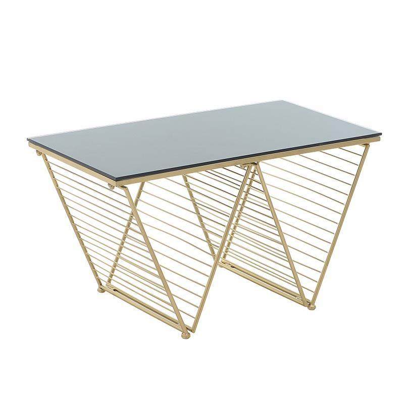 Tραπέζι σαλονιού μεταλλικό-γυάλινο σε χρυσό χρώμα 77x41x42