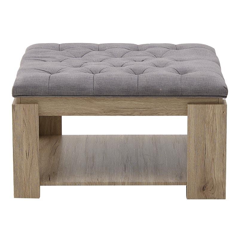 Tραπέζι σαλονιού ξύλινο σε φυσικό-γκρι χρώμα 80x80x45