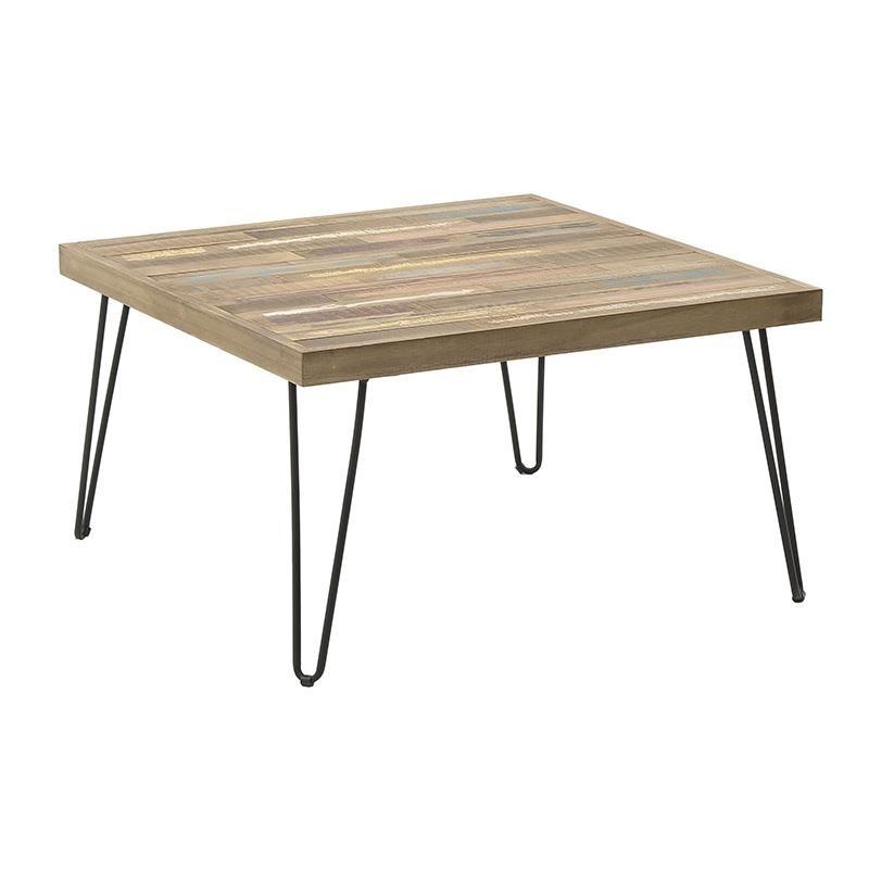 Tραπέζι σαλονιού ξύλινο-μεταλλικό σε καφέ-μαύρο χρώμα 71x71x40
