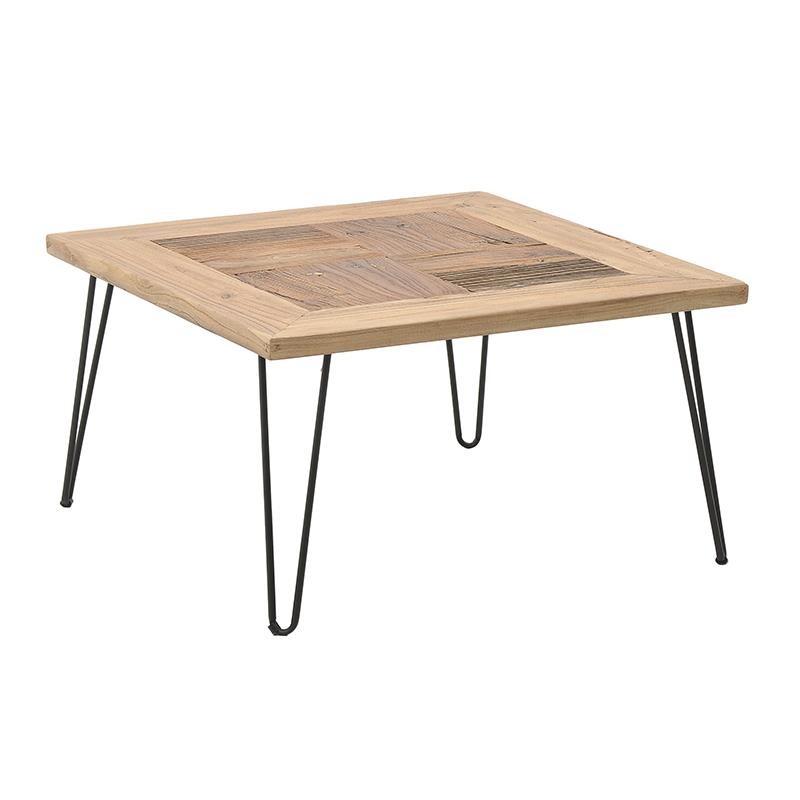 Tραπέζι σαλονιού ξύλινο-μεταλλικό σε φυσικό-μαύρο χρώμα 70x70x39