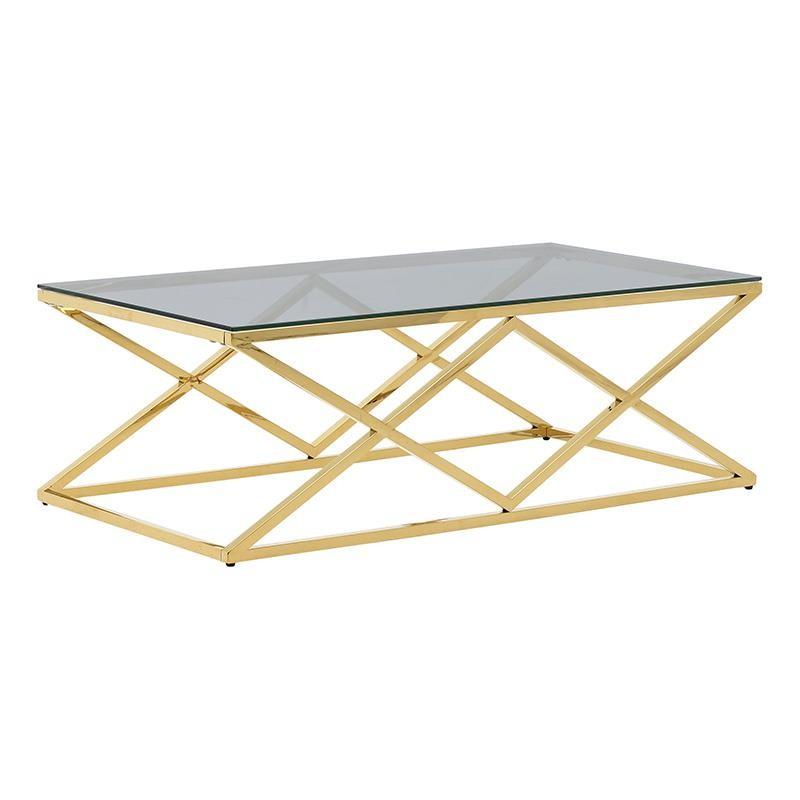 Tραπέζι σαλονιού μεταλλικό-γυάλινο σε χρυσό-μαύρο χρώμα 120x60x40