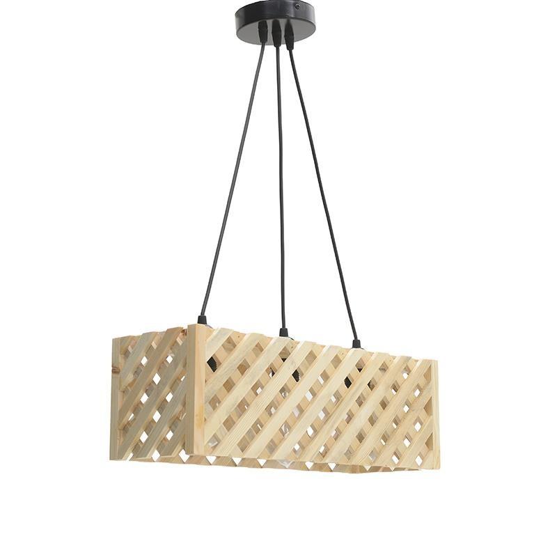 Τρίφωτο φωτιστικό από ξύλο σε φυσικό χρώμα 48x17x16