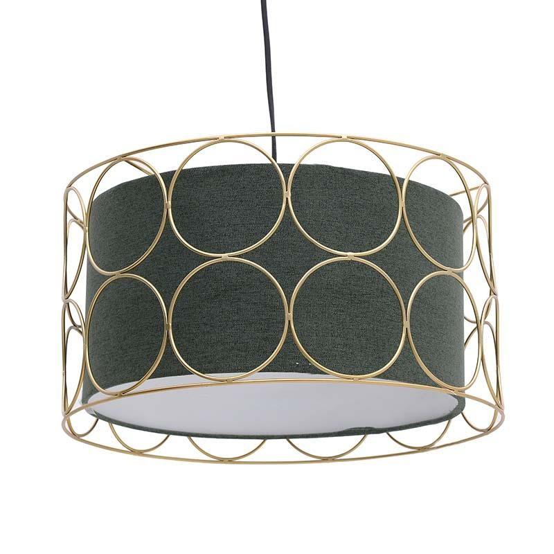 Μονόφωτο φωτιστικό από μέταλλο-ύφασμα σε χρυσό-πράσινο χρώμα Φ44x110