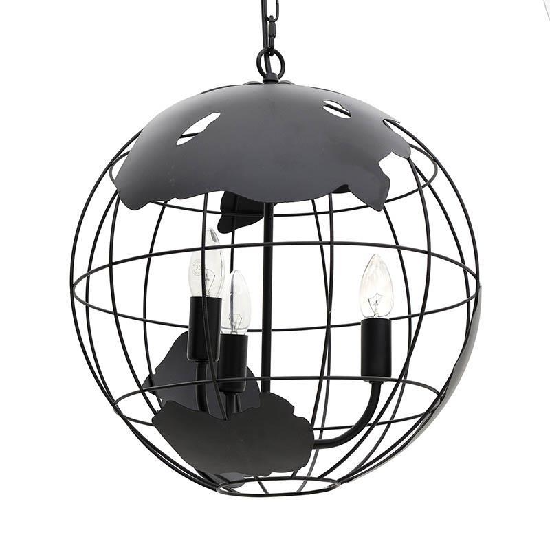 """Τρίφωτο φωτιστικό """"ΥΔΡΟΓΕΙΟΣ""""από μέταλλο σε μαύρο χρώμα Φ40x40"""