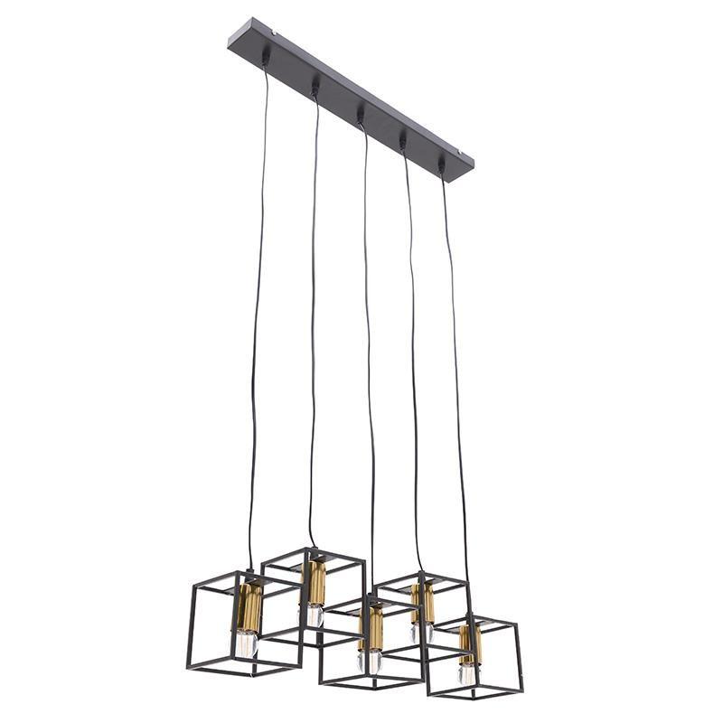 Πεντάφωτο φωτιστικό από μέταλλο σε μαύρο-χρυσό χρώμα 63,5x13x20