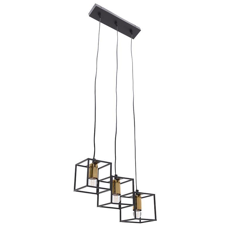 Τρίφωτο φωτιστικό από μέταλλο σε μαύρο-χρυσό χρώμα 38x13x28
